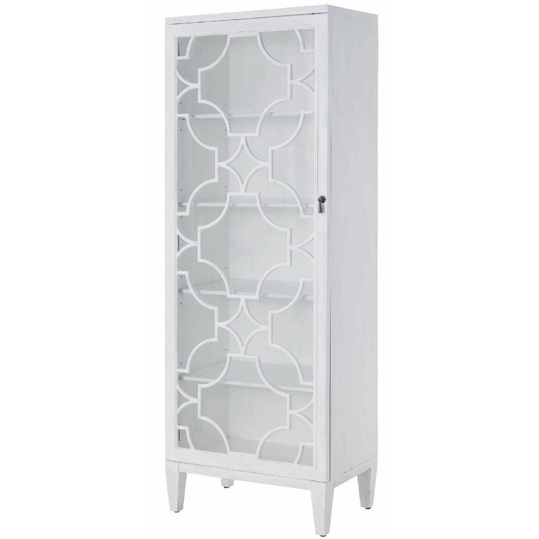 Curio Cabinet in White w/ Lattice Design - image-0