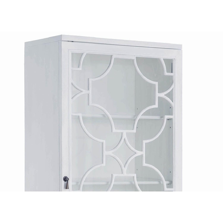 Curio Cabinet in White w/ Lattice Design - image-1
