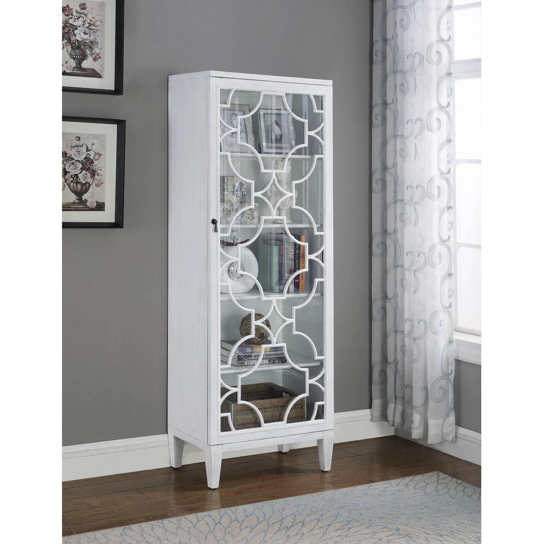 Curio Cabinet in White w/ Lattice Design - image-2