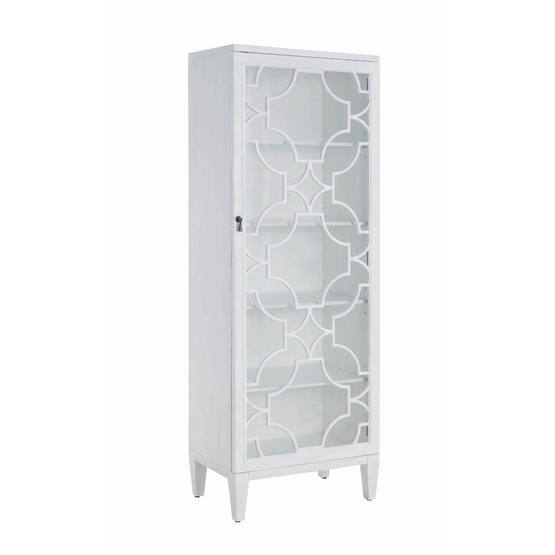 Curio Cabinet in White w/ Lattice Design - image-3