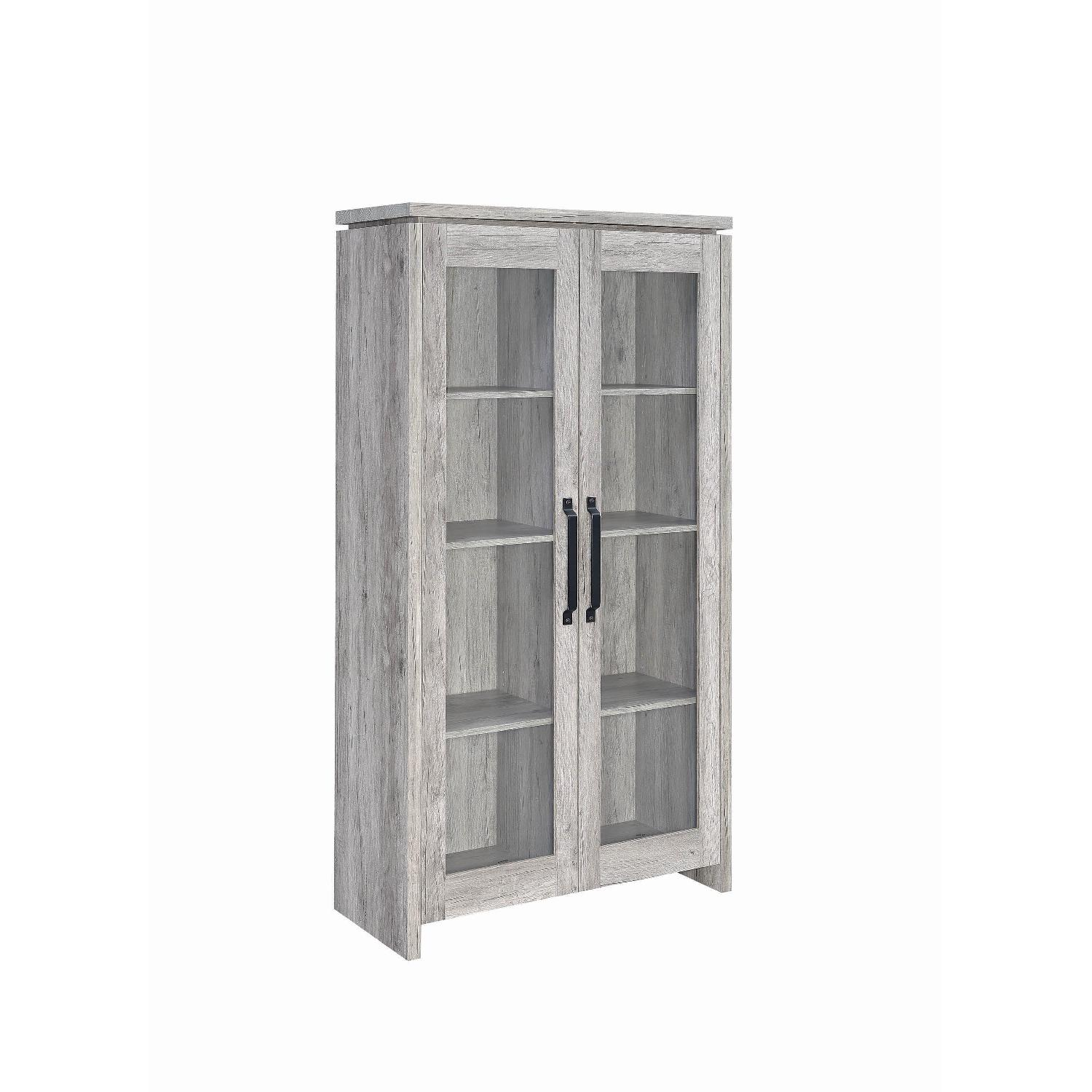 Industrial Style Curio Cabinet in Grey Driftwood Finish - image-2