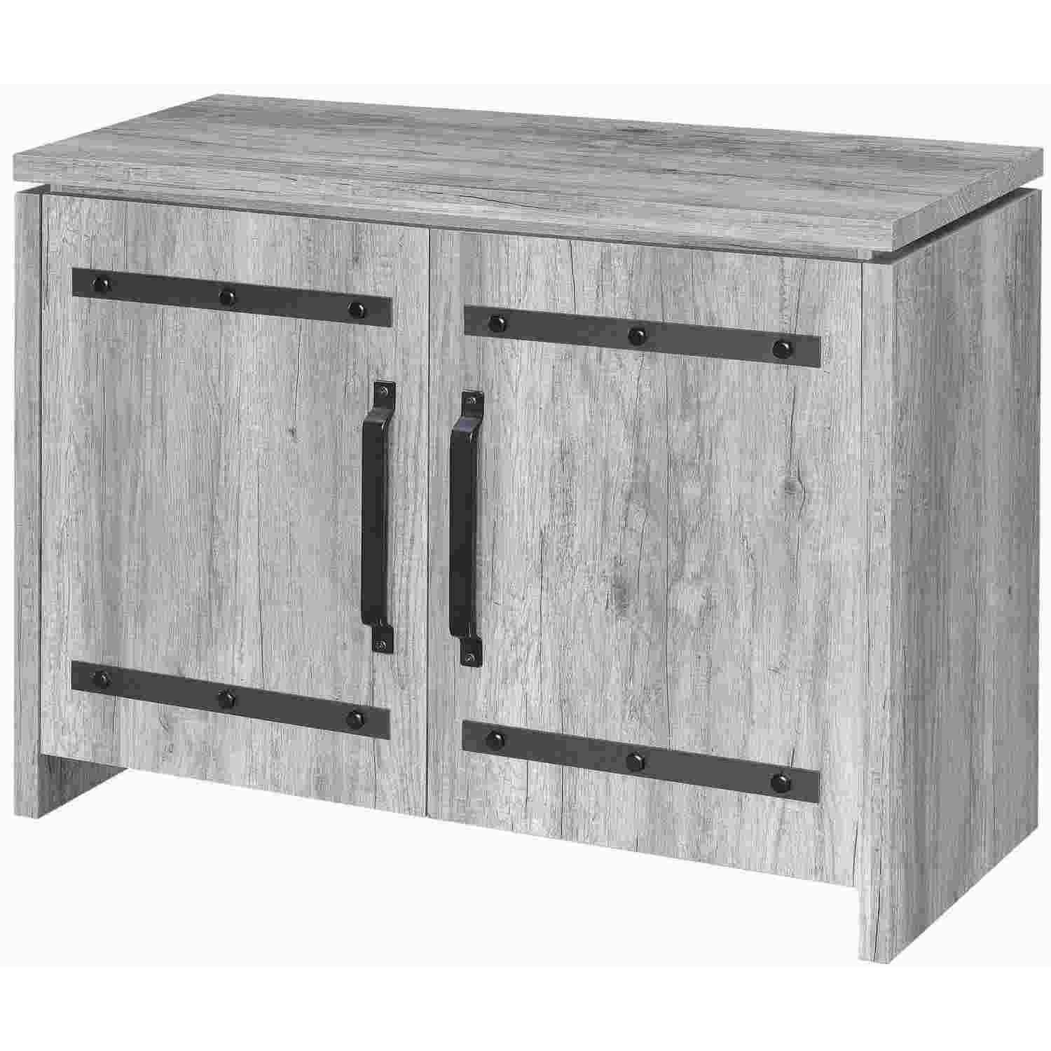 Industrial Style Curio Cabinet in Grey Driftwood Finish - image-3