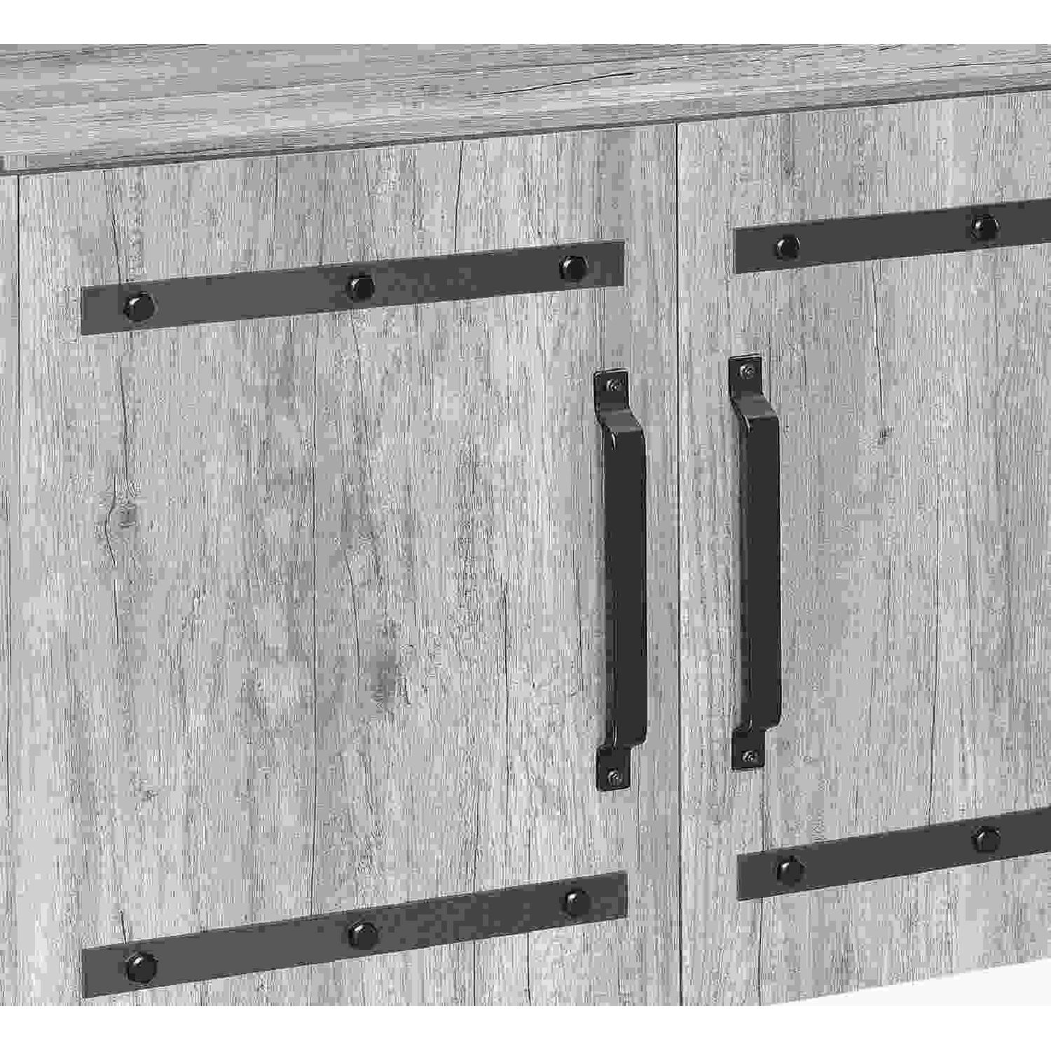 Industrial Style Curio Cabinet in Grey Driftwood Finish - image-4