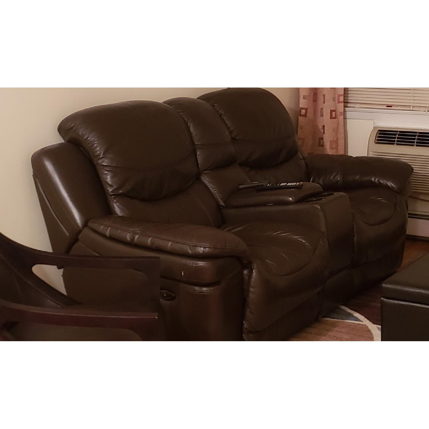 Brown Leather Reclining Sofa - image-1