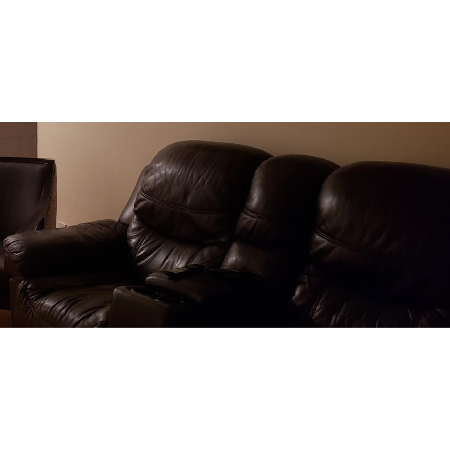 Brown Leather Reclining Sofa - image-2