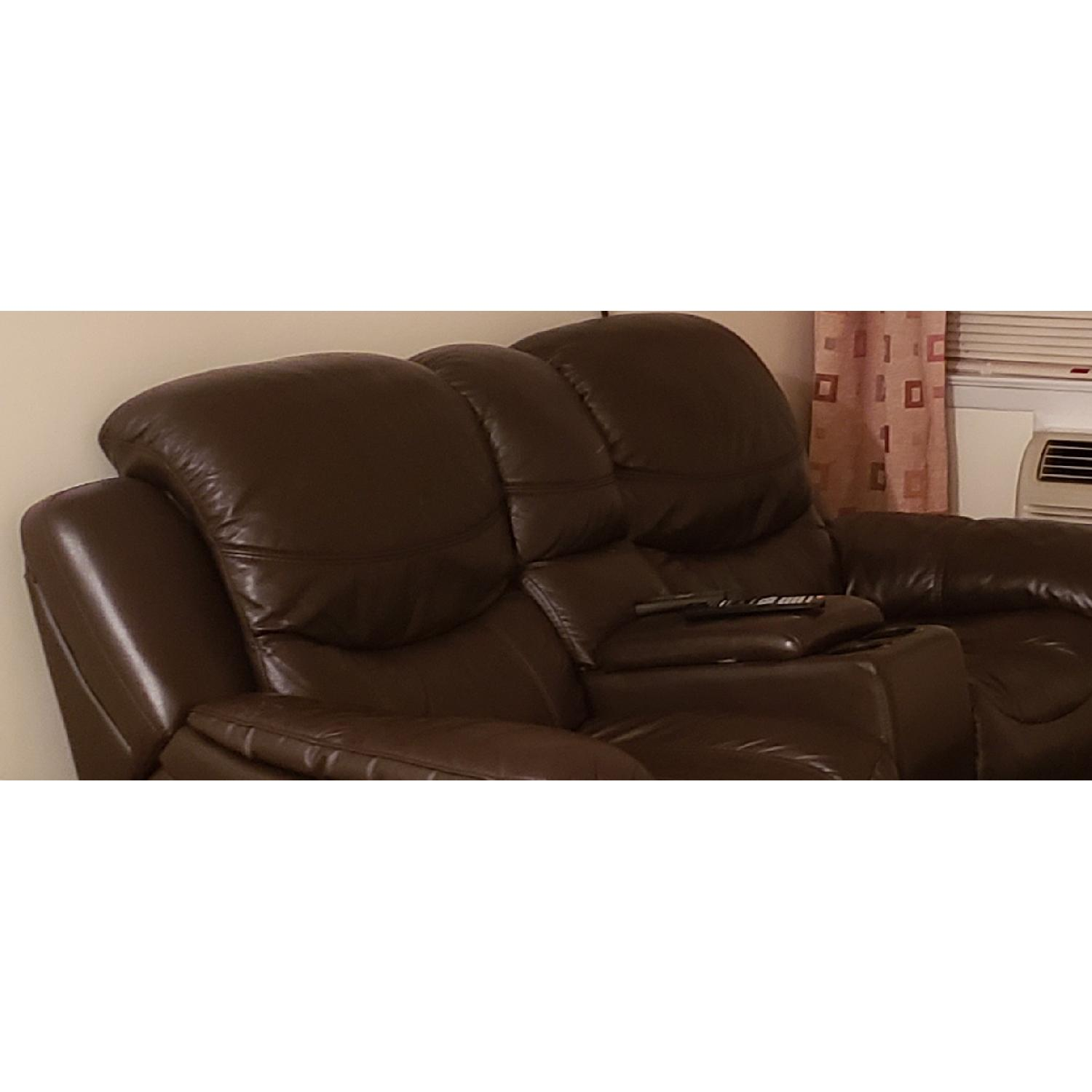 Brown Leather Reclining Sofa - image-3