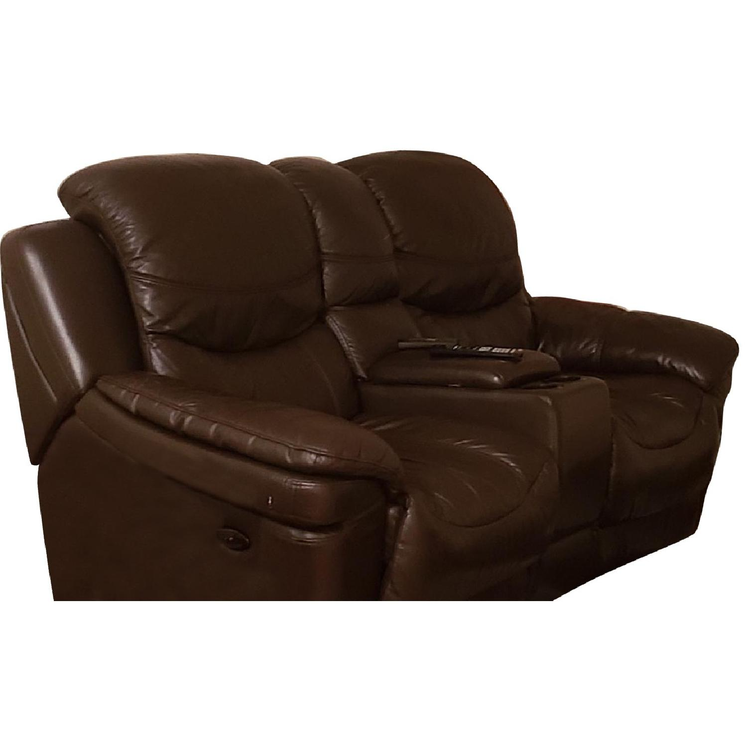 Brown Leather Reclining Sofa - image-0