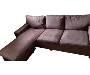 Chocolate Brown 2-Piece Sectional Sofa w/ Reversible Chaise