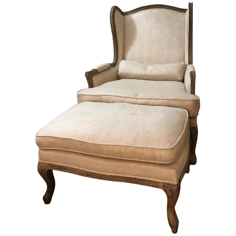 Restoration Hardware Lorraine Chair w/ Ottoman