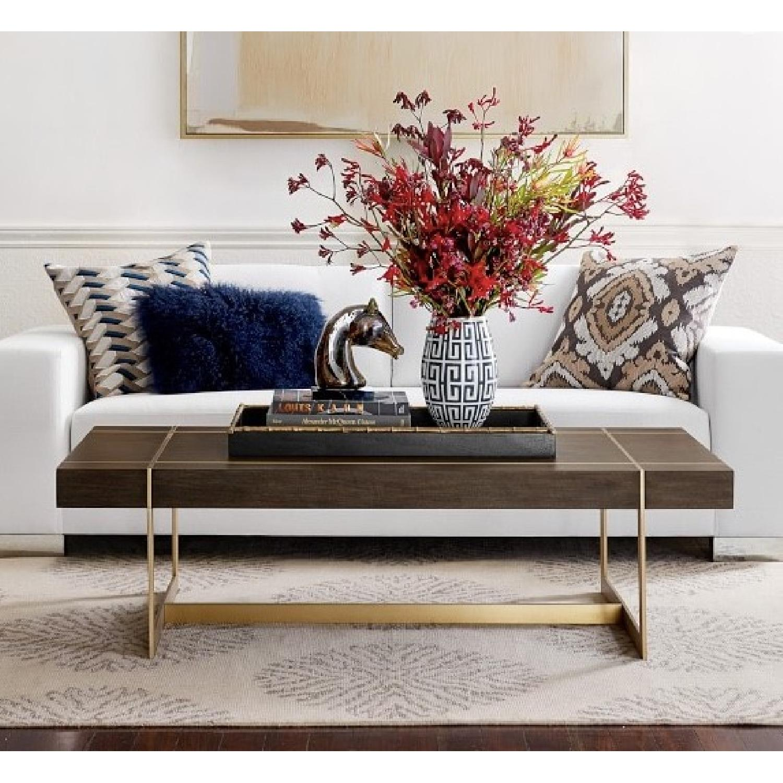 Williams Sonoma Mocha Wood + Brass Coffee Table - image-1