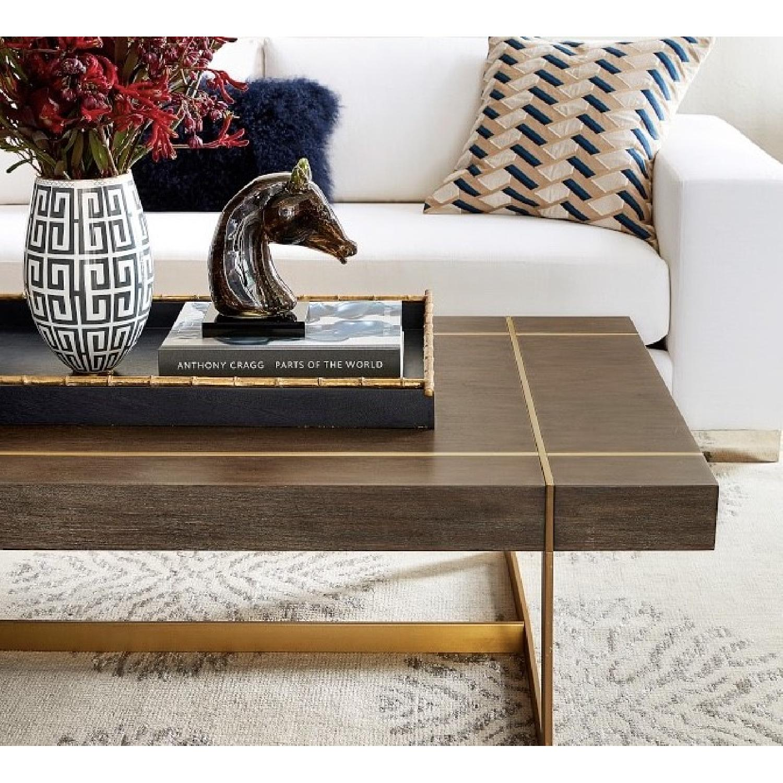 Williams Sonoma Mocha Wood + Brass Coffee Table - image-2