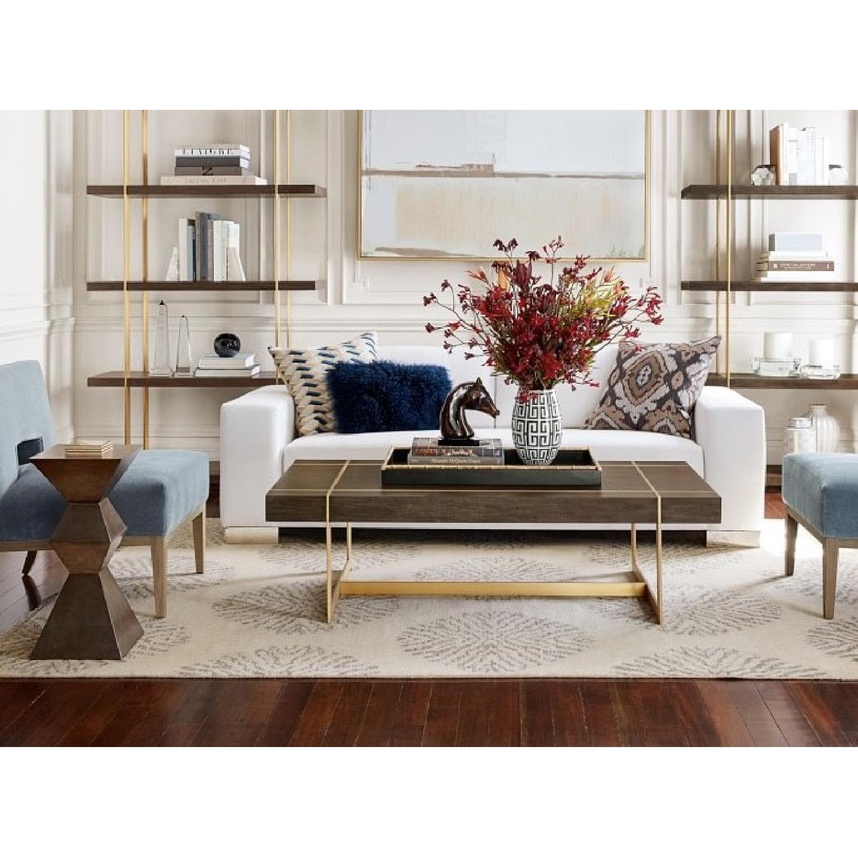 Williams Sonoma Mocha Wood + Brass Coffee Table - image-3