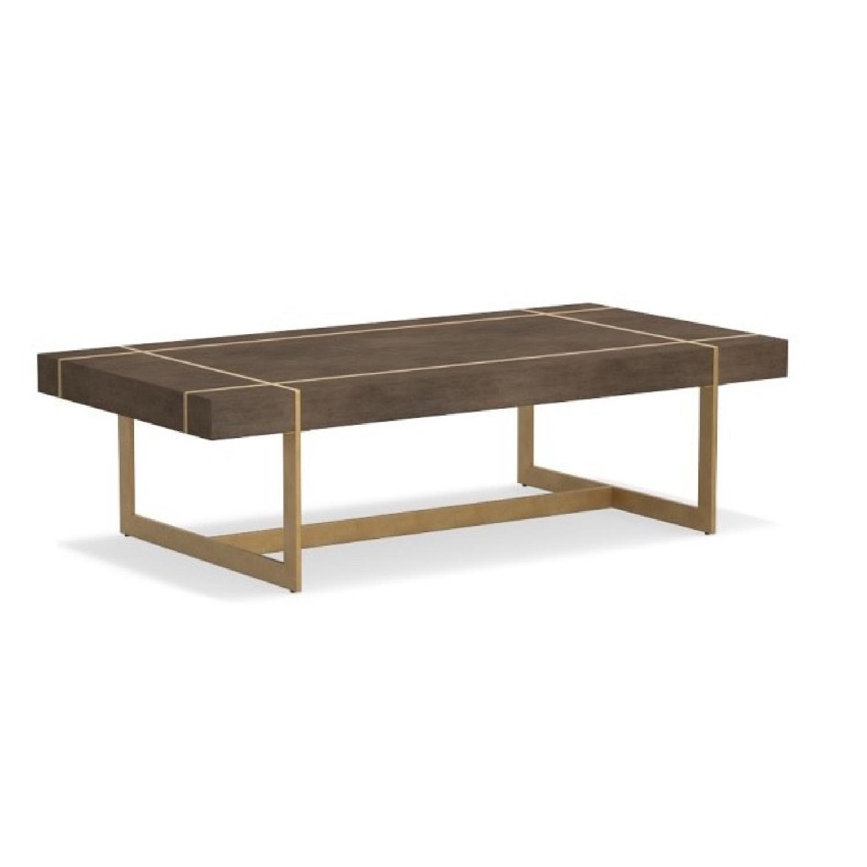 Williams Sonoma Mocha Wood + Brass Coffee Table - image-0