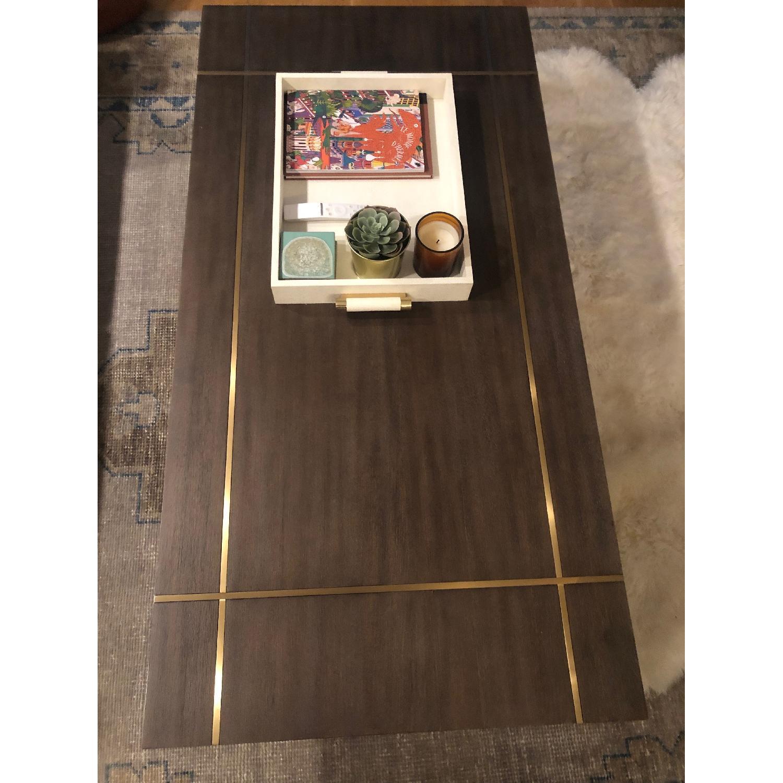 Williams Sonoma Mocha Wood + Brass Coffee Table - image-4