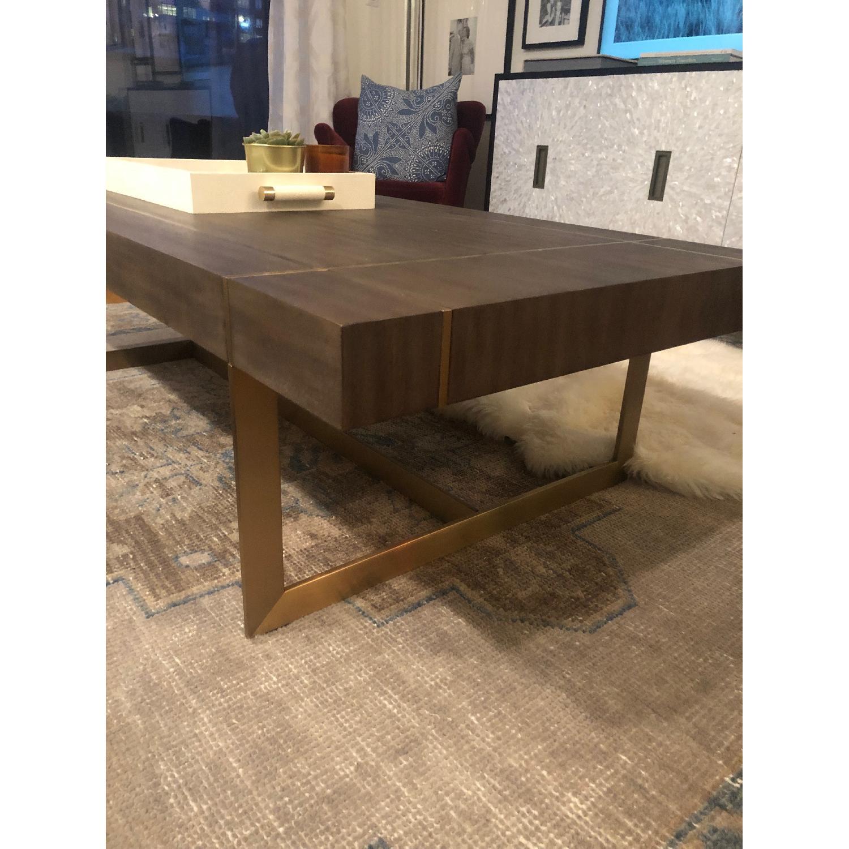 Williams Sonoma Mocha Wood + Brass Coffee Table - image-5