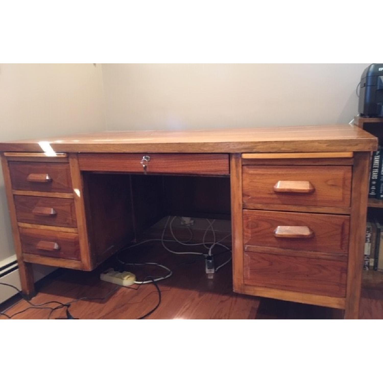Vintage Solid Oak 6-Drawer Principal's Desk - image-1