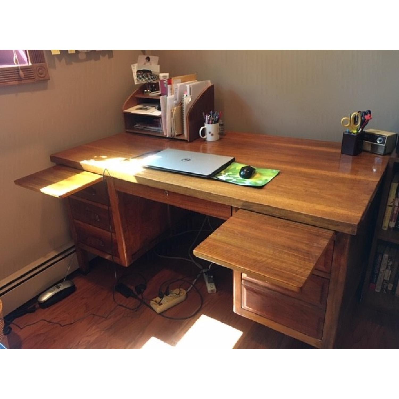 Vintage Solid Oak 6-Drawer Principal's Desk - image-6
