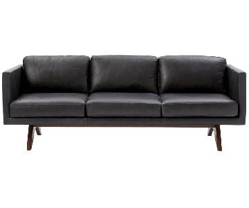 West Elm Brooklyn Sofa in Black Licorice Leather