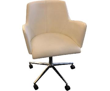 Adjustable Height White Swivel Arm Chair