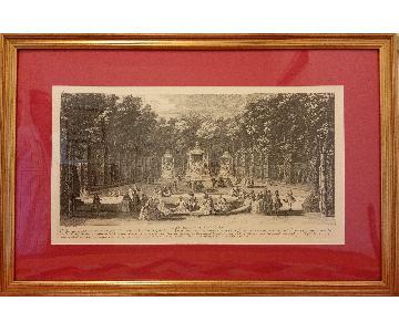 Louvre Mus.Woodblock Print - Les Domes & Les Bains D'Apollon
