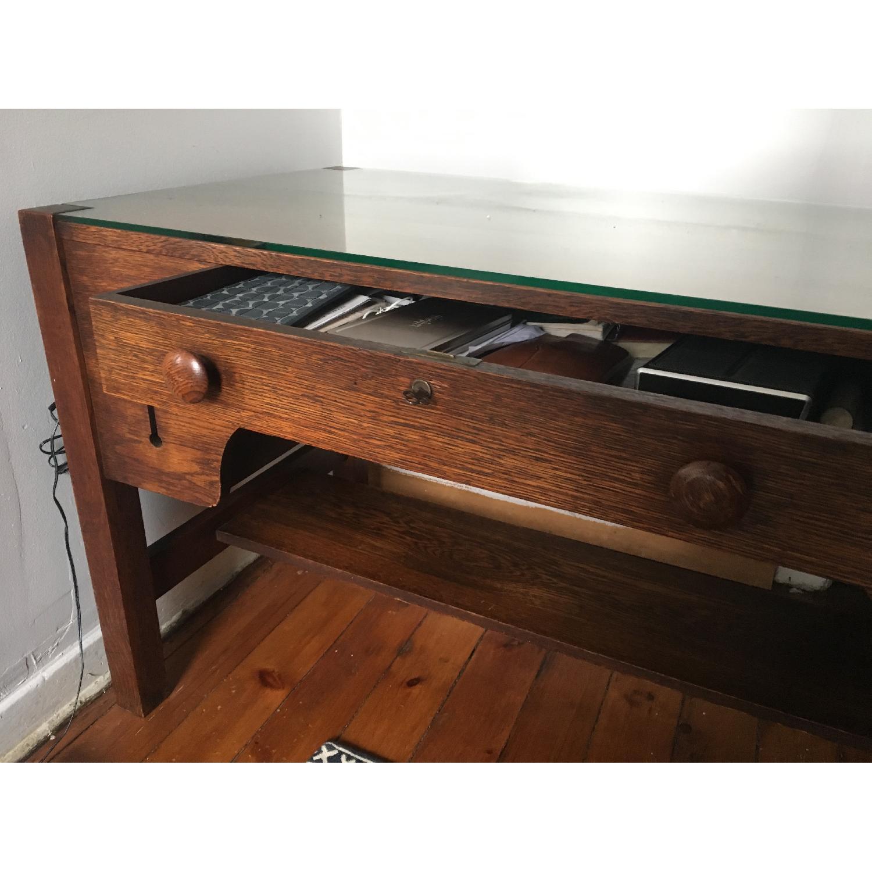 Antique Solid Tiger Oak Mission Style Desk