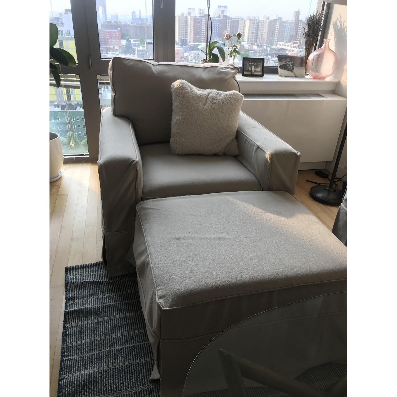 Pottery Barn PB Comfort Square Grand Arm Chair & Ottoman - image-1