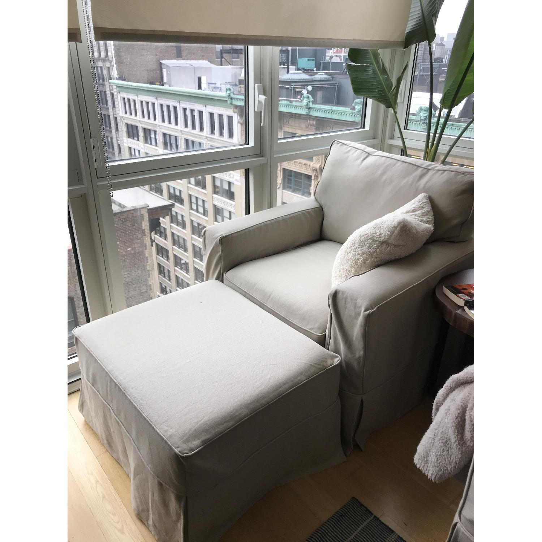 Pottery Barn PB Comfort Square Grand Arm Chair & Ottoman - image-0
