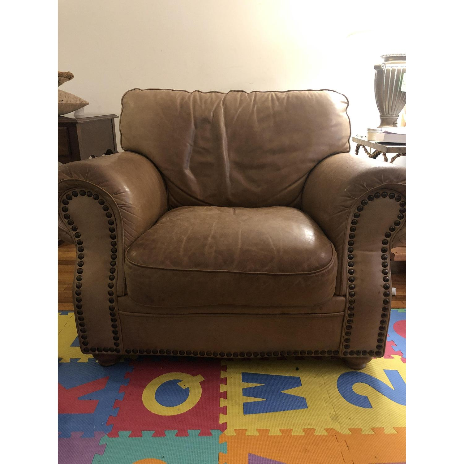 Distressed Camel Leather Studded Oversized Chair - image-1