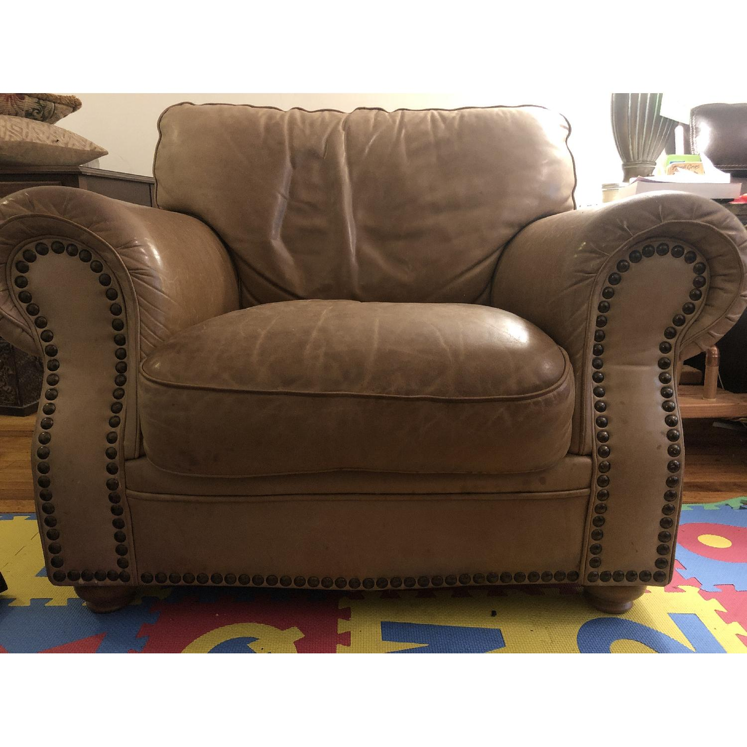 Distressed Camel Leather Studded Oversized Chair - image-2