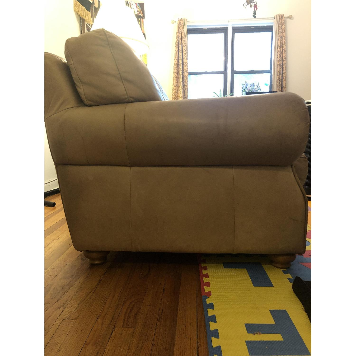 Distressed Camel Leather Studded Oversized Chair - image-3