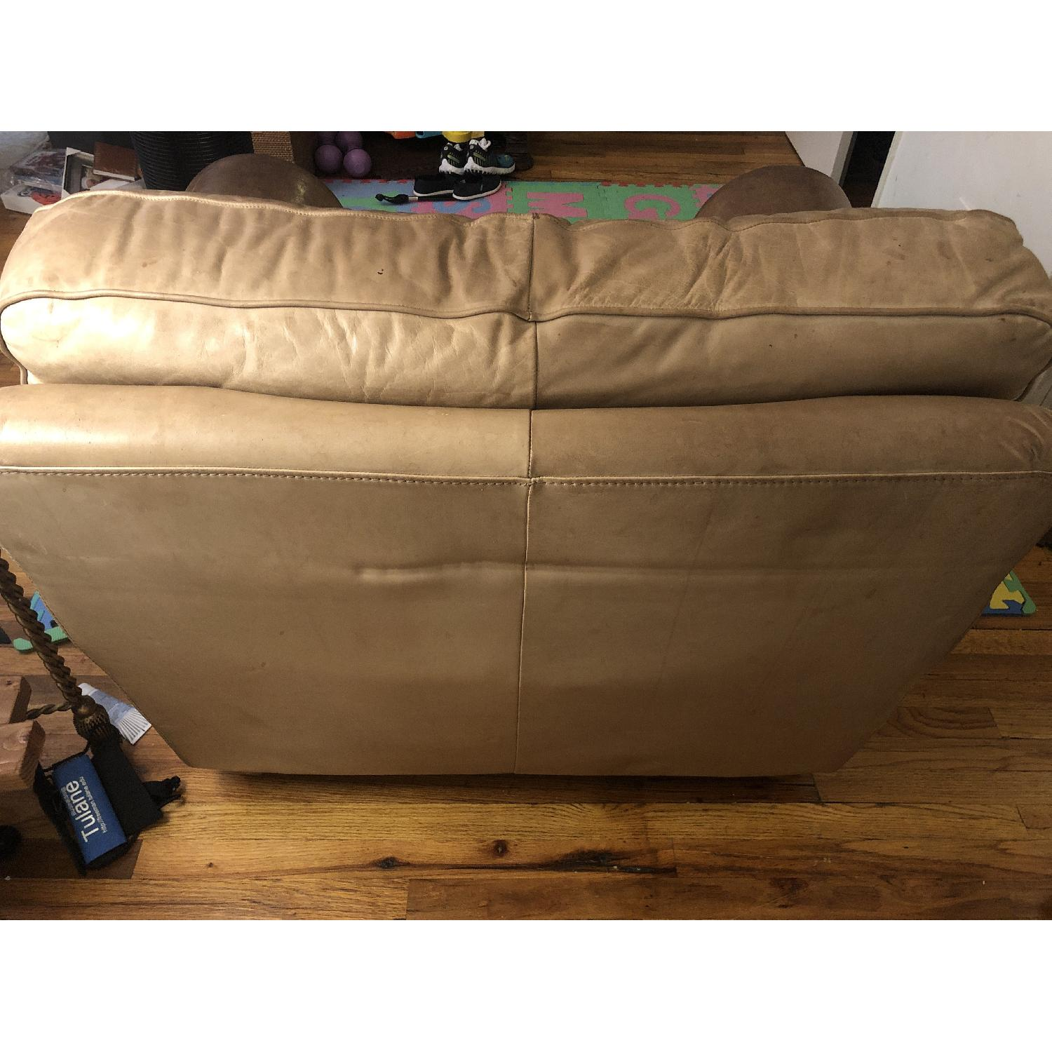 Distressed Camel Leather Studded Oversized Chair - image-5