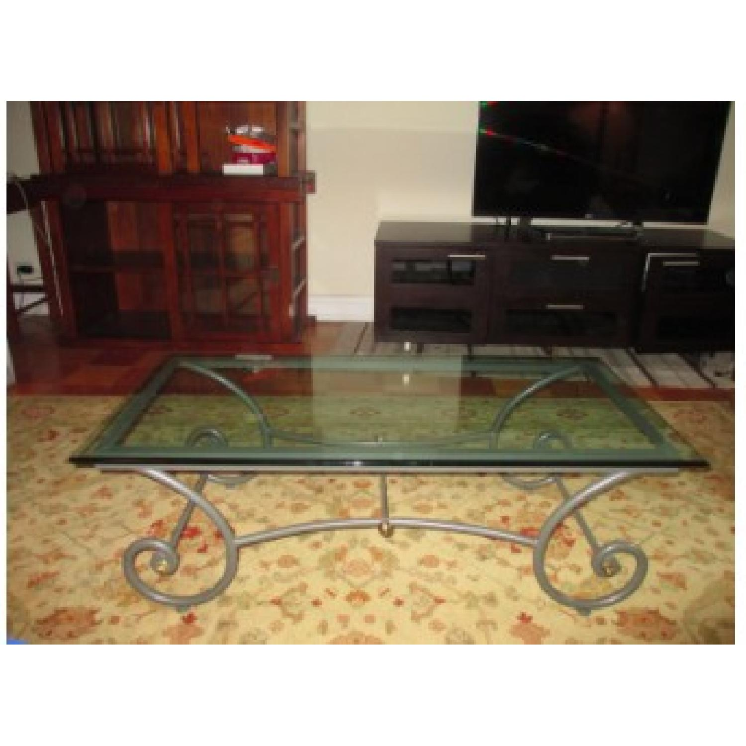 Charleston Forge Glass/Metal Coffee Table - image-1