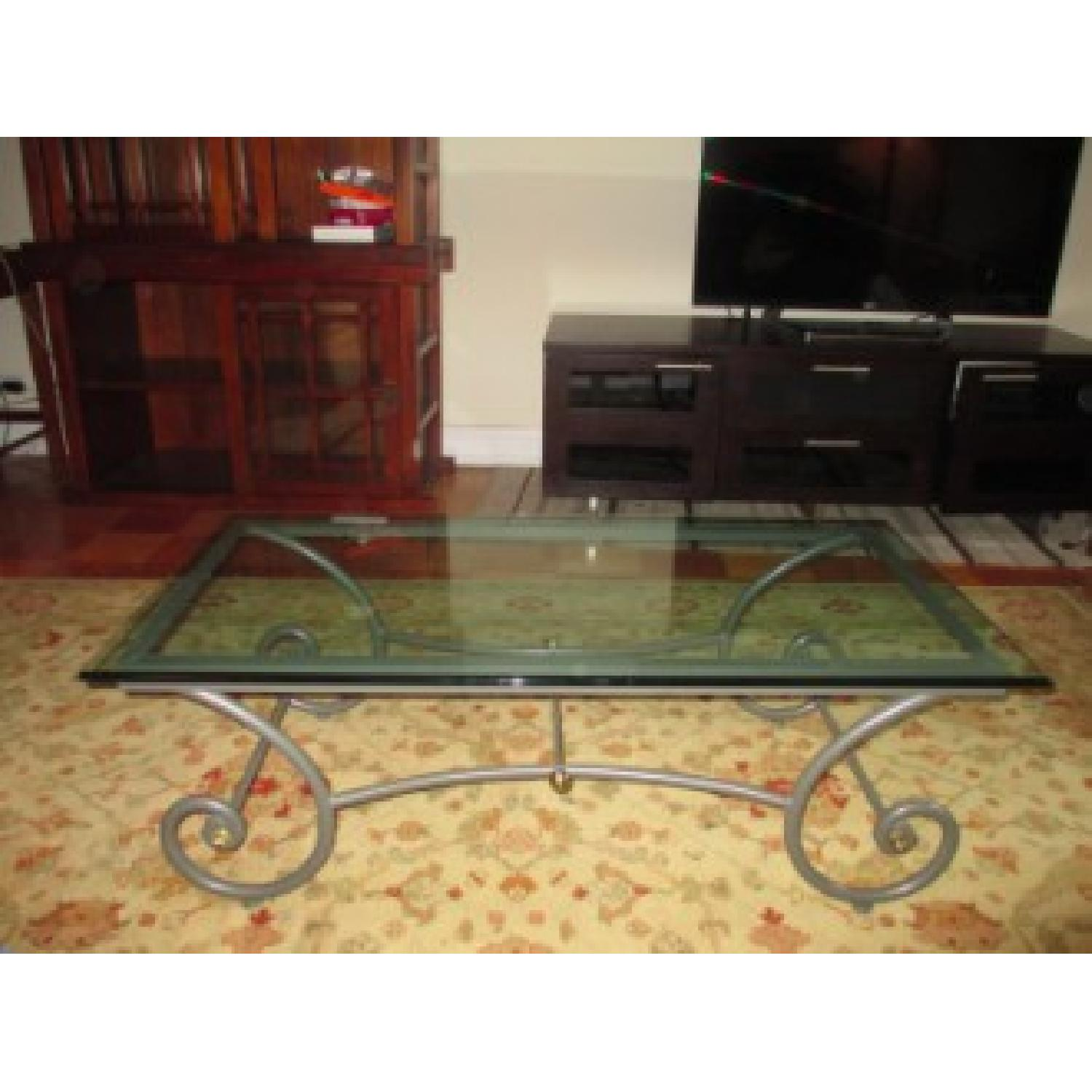 Charleston Forge Glass/Metal Coffee Table - image-3