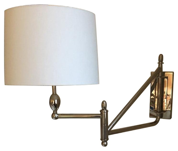 Thomas O'Brien Paulo Swingarm Sconces in Polished Nickel