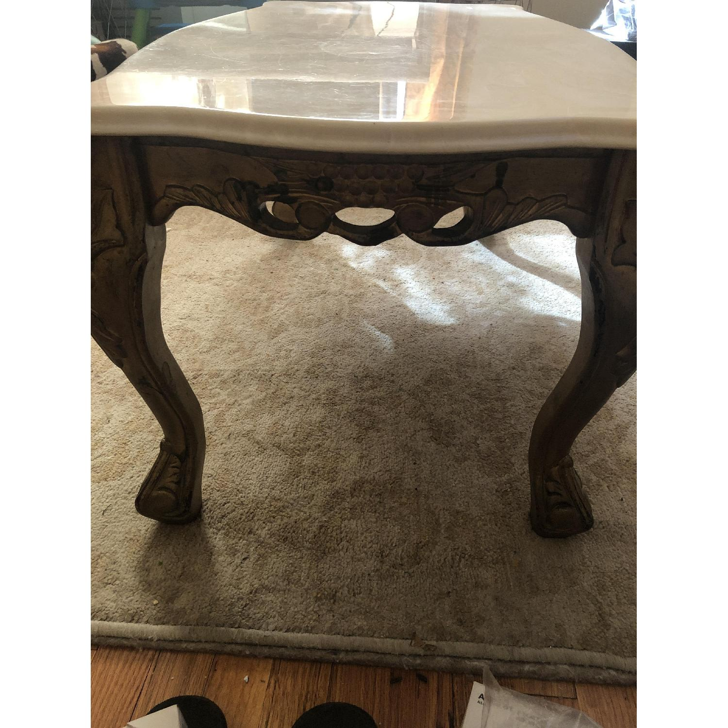 Antique Solid Marble Top Coffee Table w/ Wood Legs - image-4
