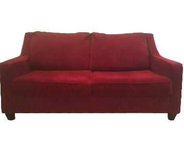 Crate & Barrel Red Full Size Sleeper Sofa