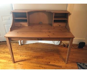 Ikea Leksvik Antique Stained Solid Pine Desk