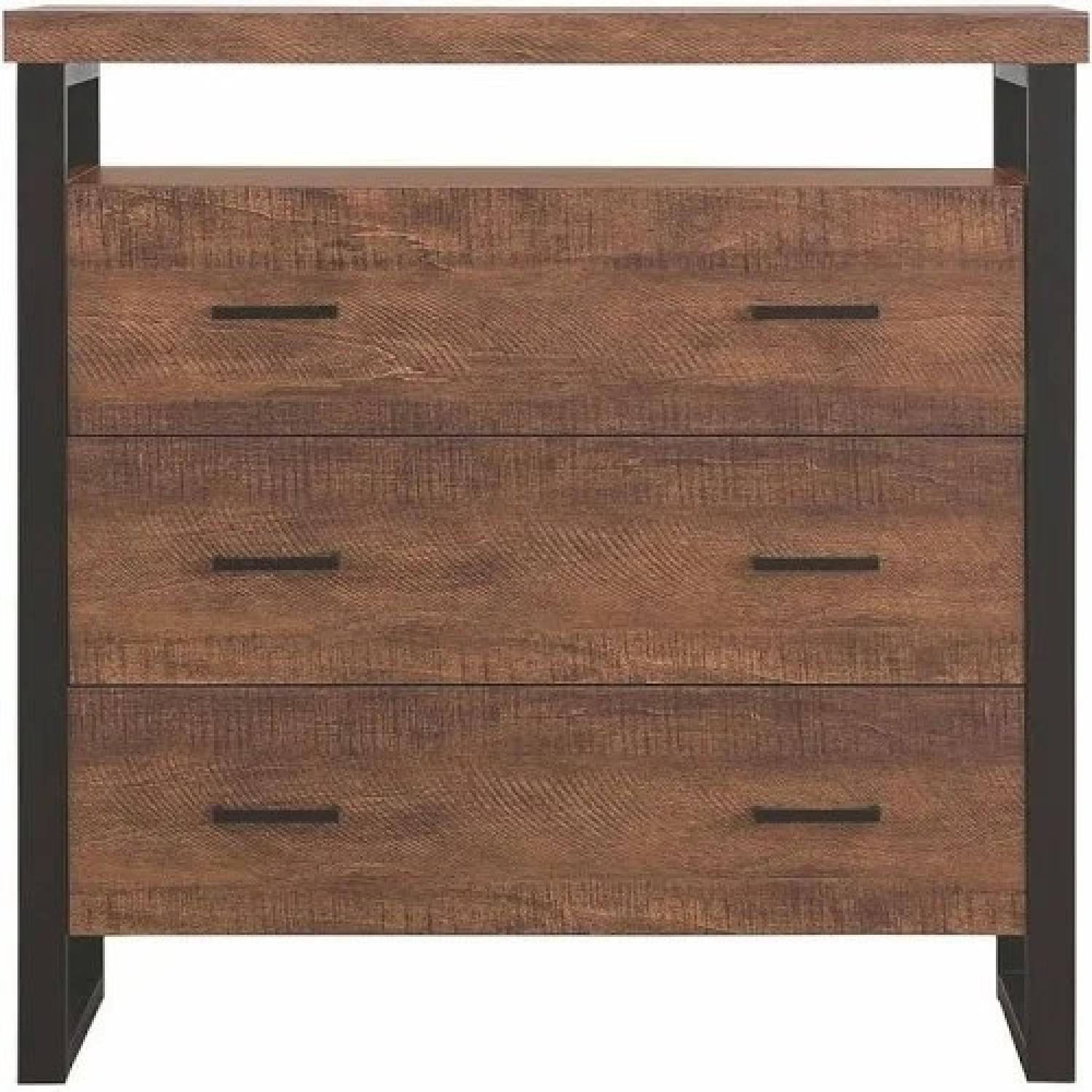 Industrial Style 3-Drawer Cabinet in Amber Finish - image-1