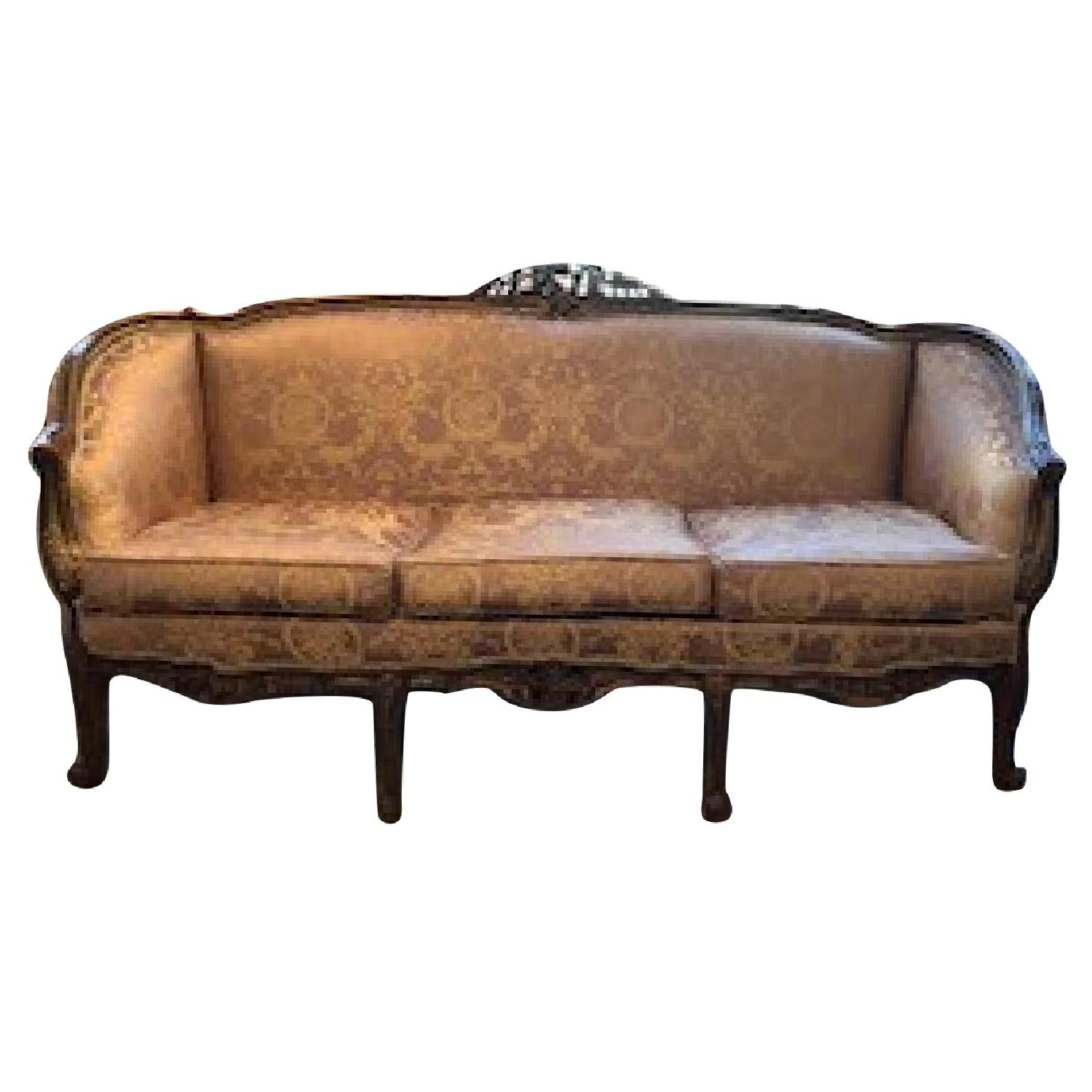 Gold Fabric Upholstered 3 Seater Sofa - image-0