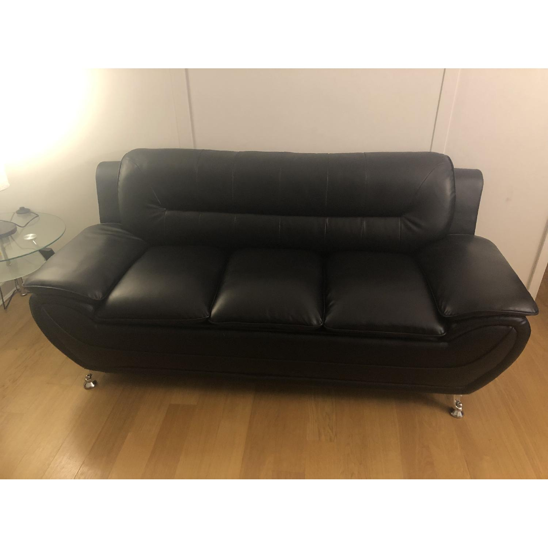 Mina Modern Black Leather Sofa & Chair - image-1