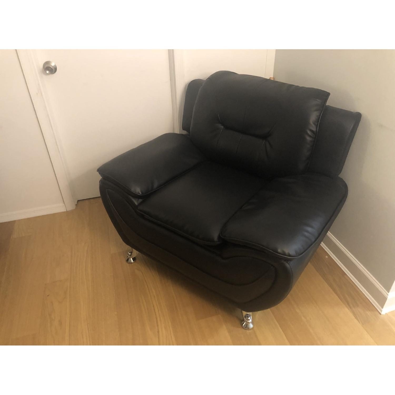 Mina Modern Black Leather Sofa & Chair - image-5