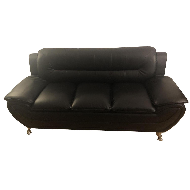 Mina Modern Black Leather Sofa & Chair - image-0
