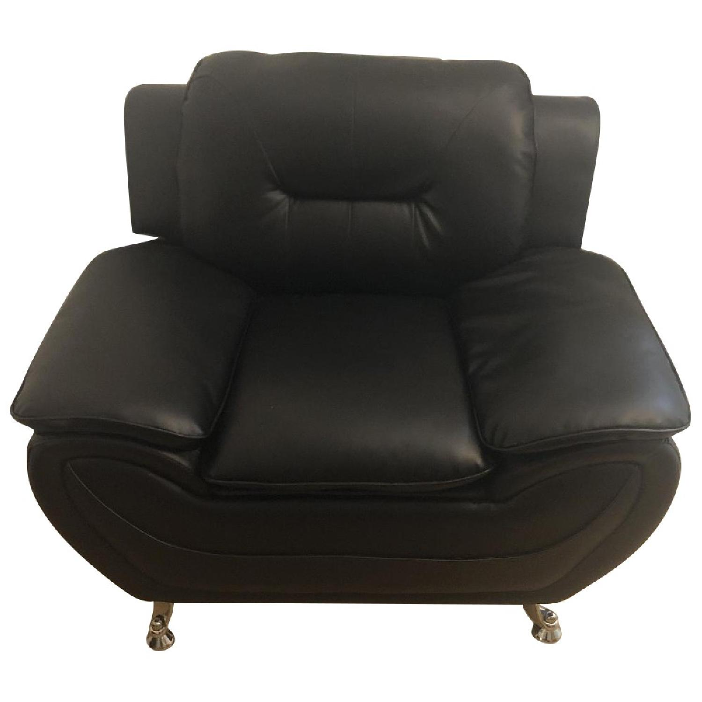 Mina Modern Black Leather Sofa & Chair - image-8