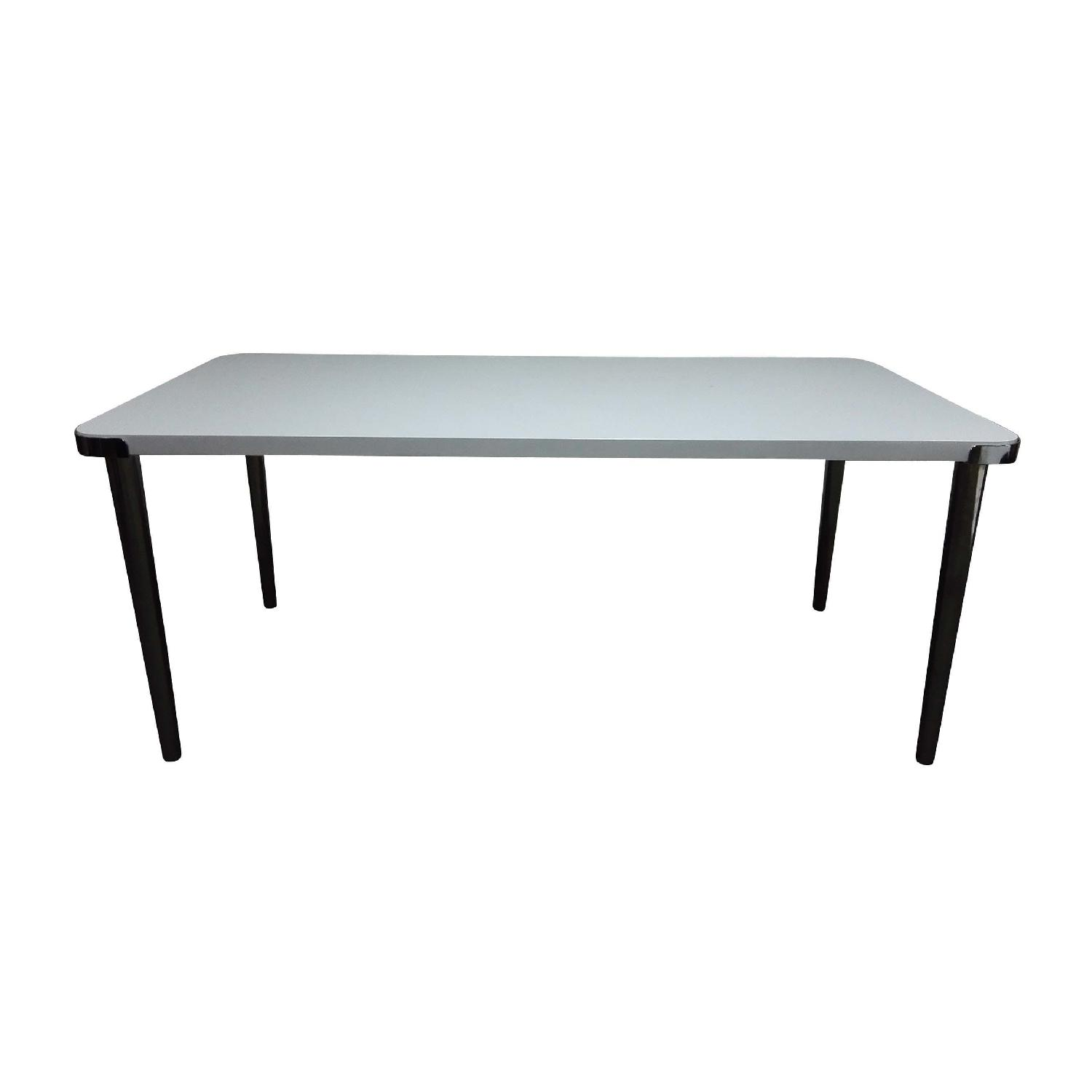 Modern Dining Table in Gloss White Top & Dark Nickel Base - image-1