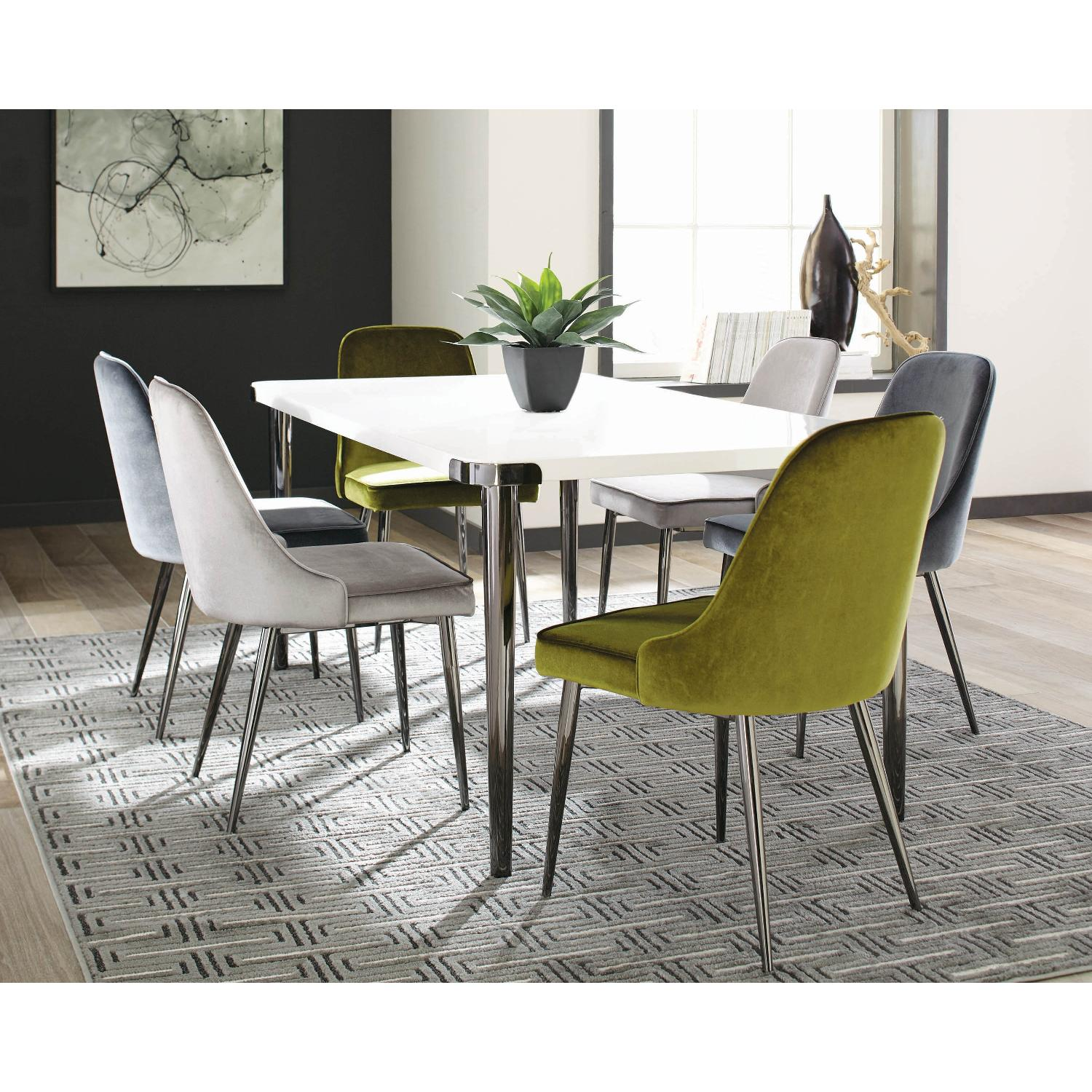 Modern Dining Table in Gloss White Top & Dark Nickel Base - image-2