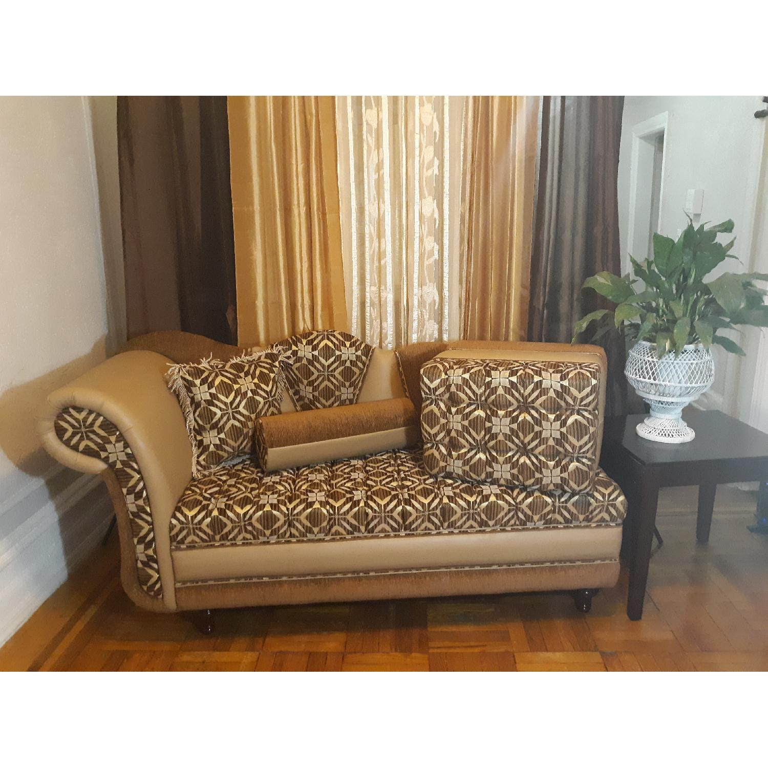 Leather & Fabric Tufted Chaise & Ottoman - image-1