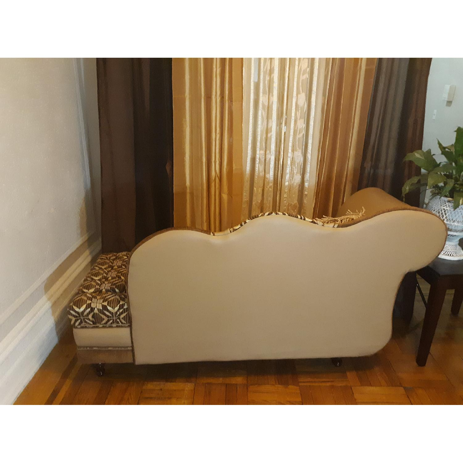 Leather & Fabric Tufted Chaise & Ottoman - image-3
