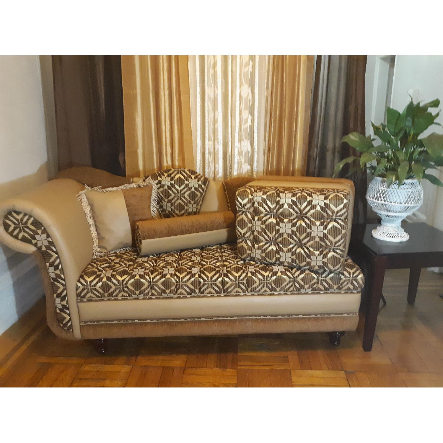 Leather & Fabric Tufted Chaise & Ottoman - image-4