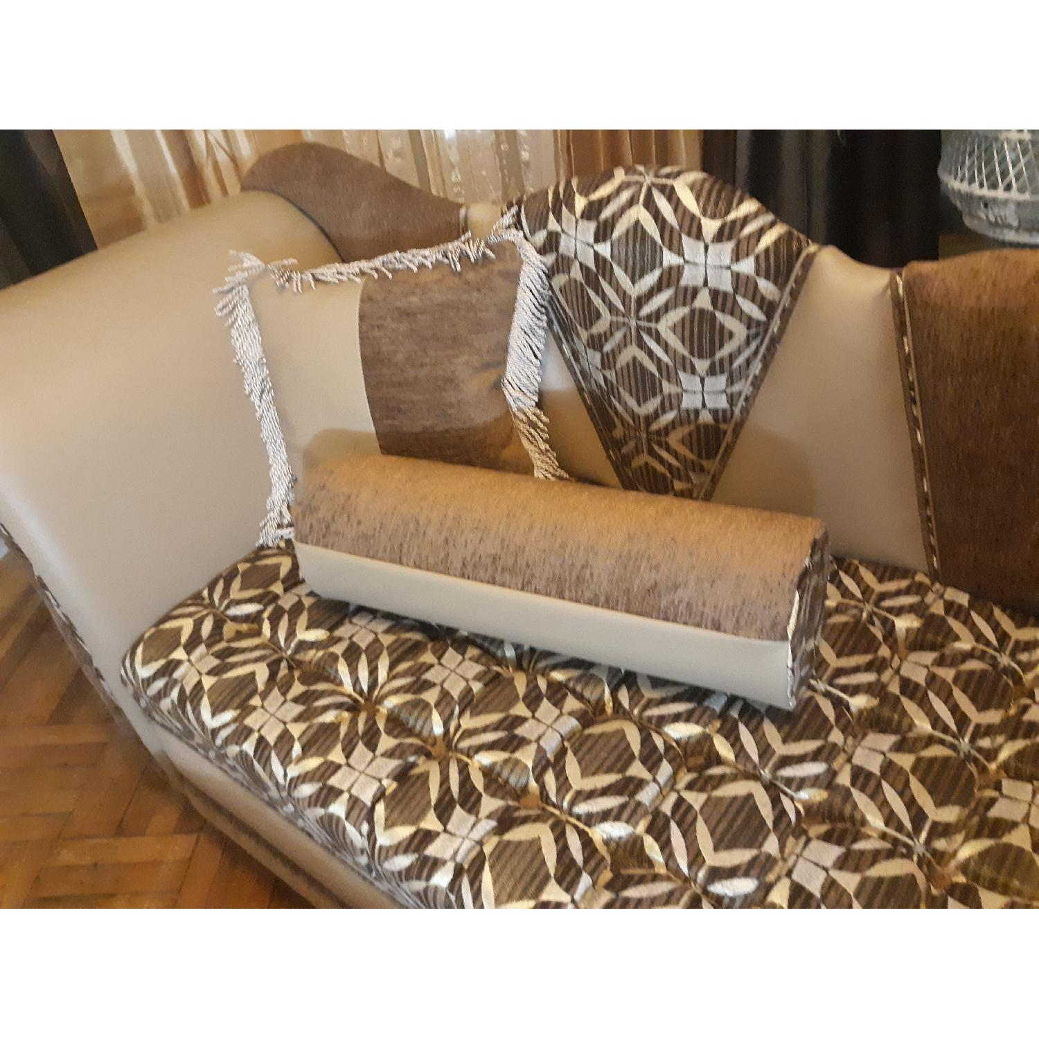 Leather & Fabric Tufted Chaise & Ottoman - image-5