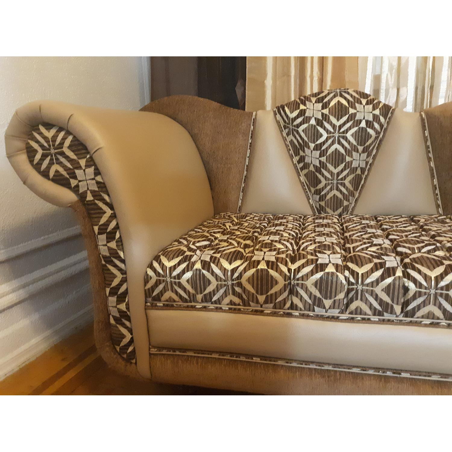 Leather & Fabric Tufted Chaise & Ottoman - image-7